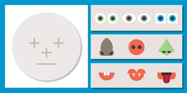 Create a face illustration - a circle as a base, with 3 options each for eyes, nose and mouth