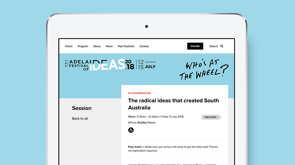 Adelaide Festival of Ideas - website, tablet view - Session details page