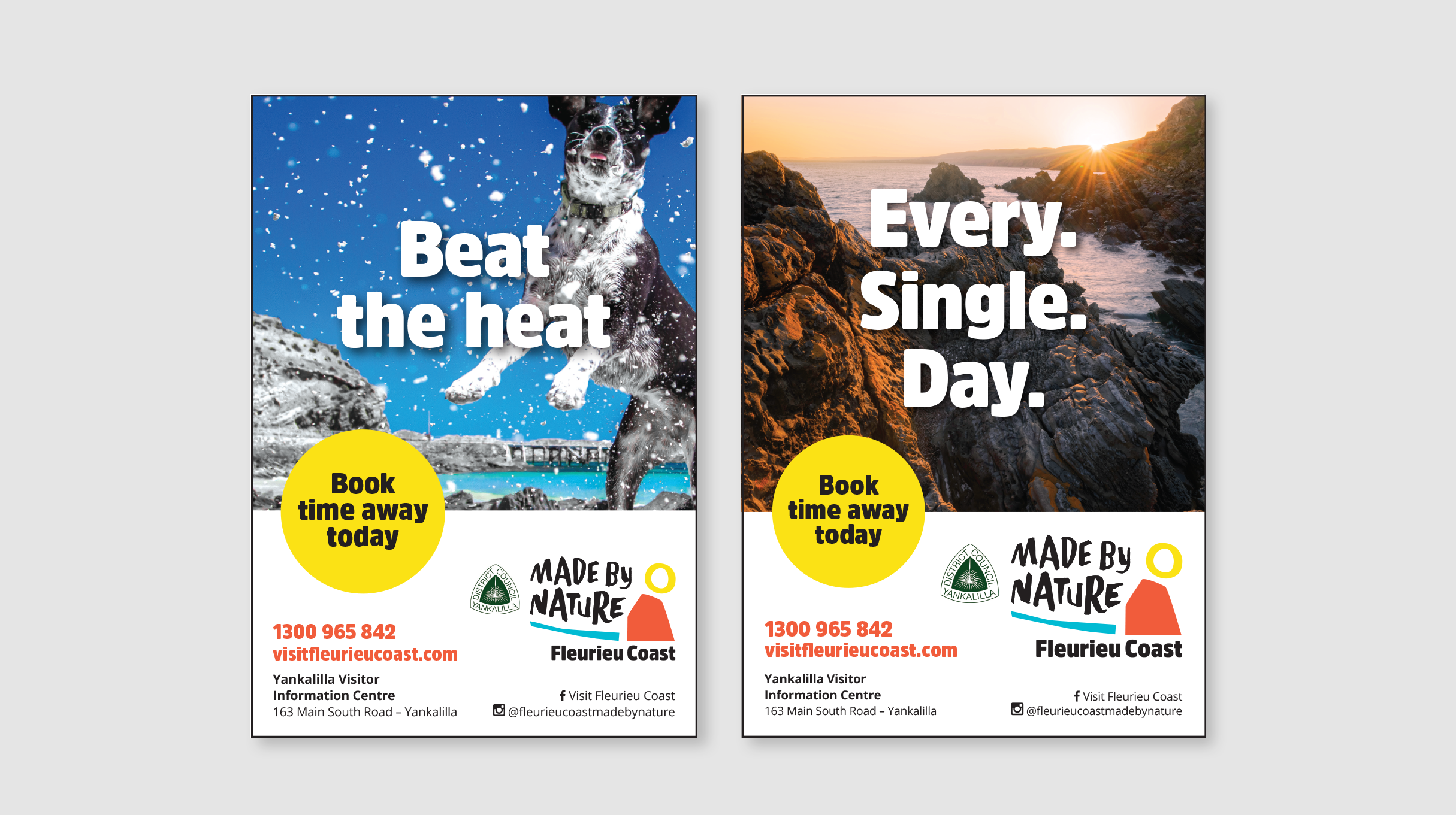 Made by Nature Fleurieu Coast logo posters - 'Beat the heat' (dog playing in the snow) and 'Every. Single. Day.' (Gorgeous seaside sunset)