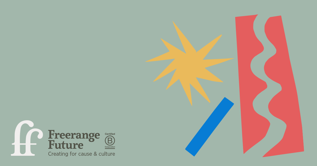 Graphic with the Freerange Future logo, and three shapes - a long rectangle, a wave cutout and a star