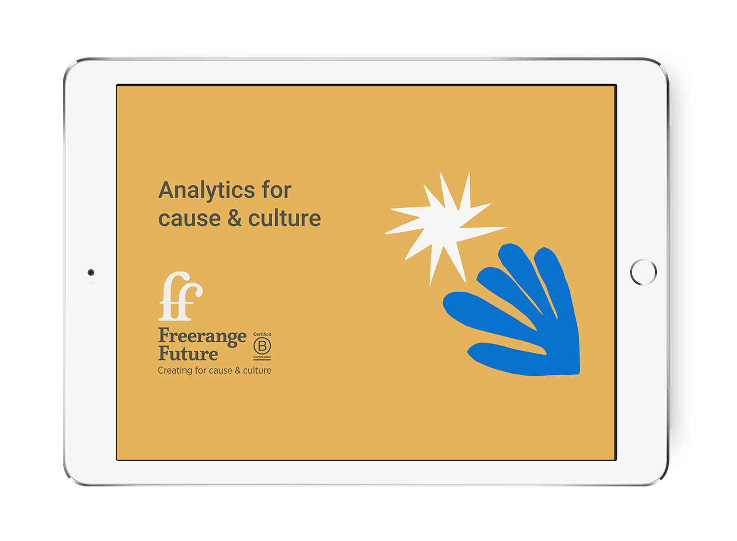 An iPad displays a slide titled 'Analytics for cause & culture'