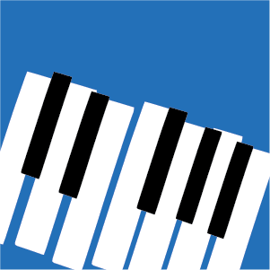 Piano keys on a blue background
