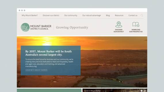 Invest Mount Barker - website homepage