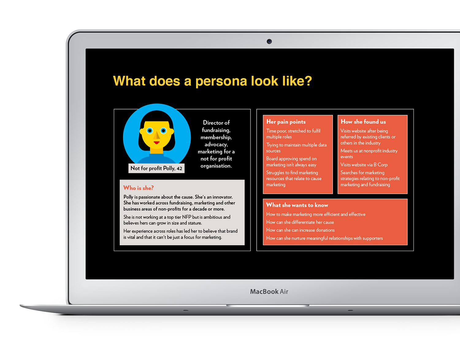 Laptop displays a webinar slide titled 'What does a persona look like?'