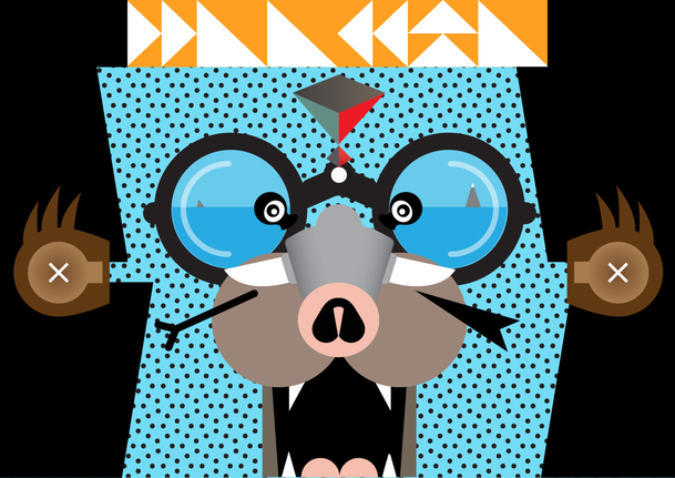 Abstract illustration of a face with glasses, and rodent nose and money ears