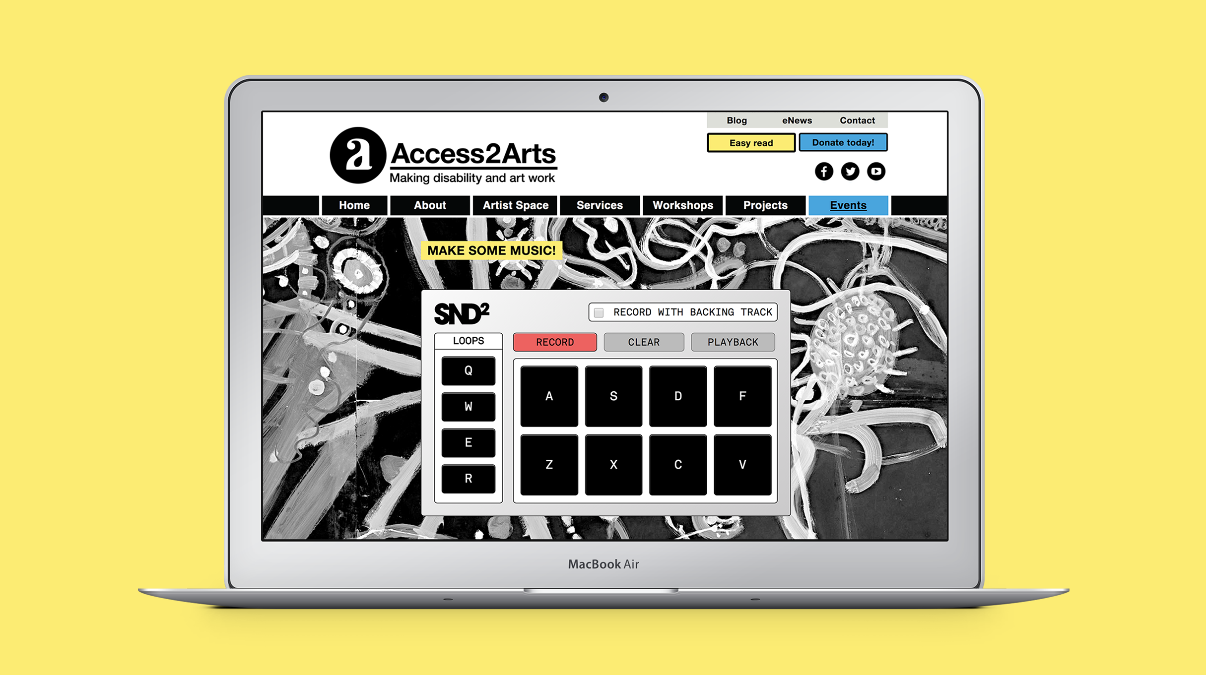 Access2Arts - website - accessible soundboard web application