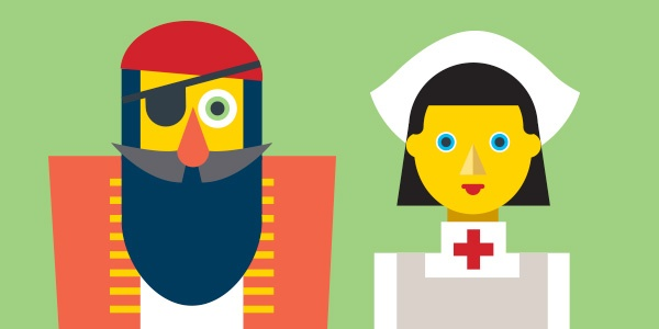 two characters - A pirate and a nurse