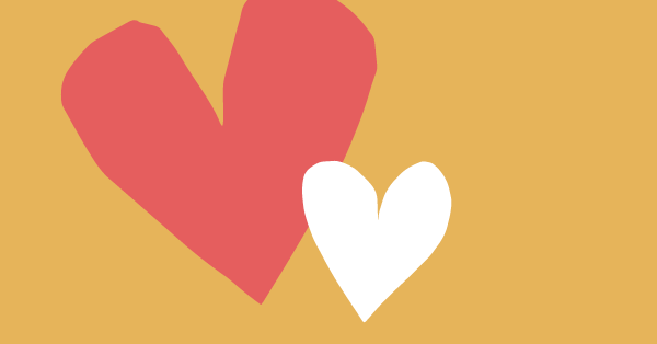 Two hearts on a yellow background