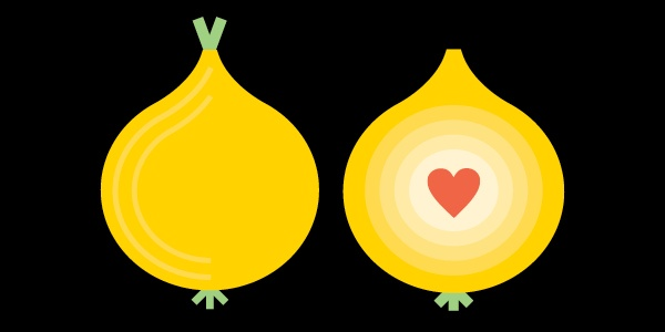 An onion containing a heart