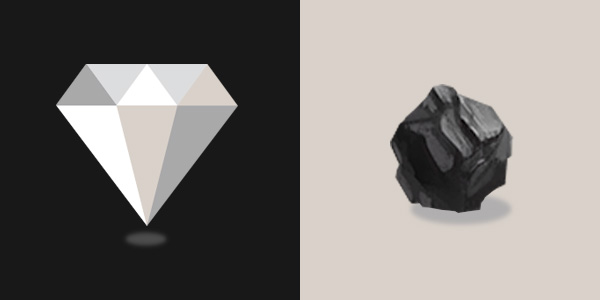 On the left; a diamond, on the right; a piece of carbon