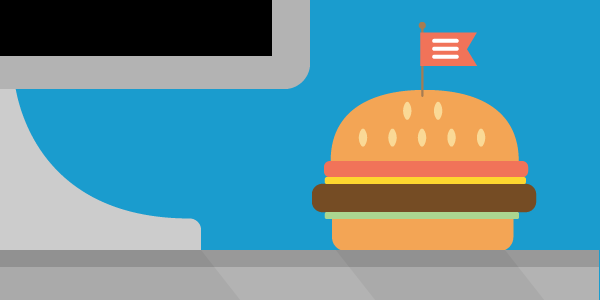 A burger on a desk, with a flag in the burger with a burger menu icon