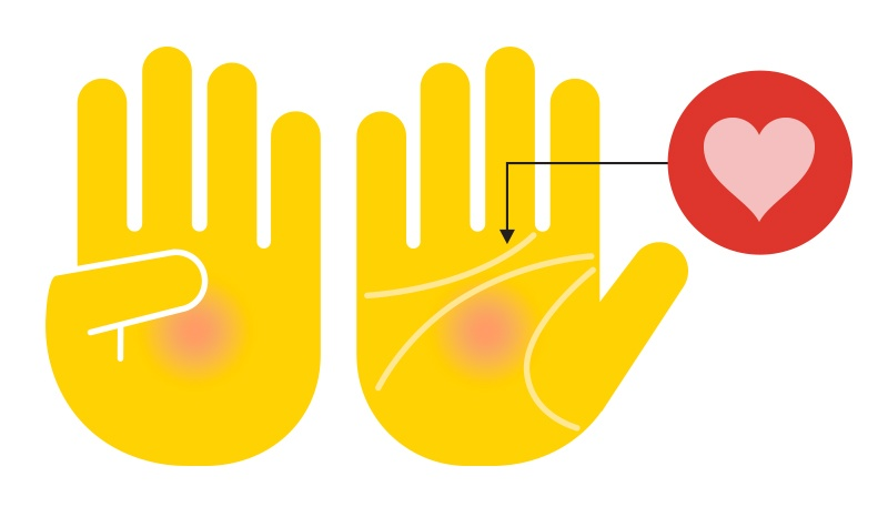 Two hands showing the heart line on the palm, with a heart icon.