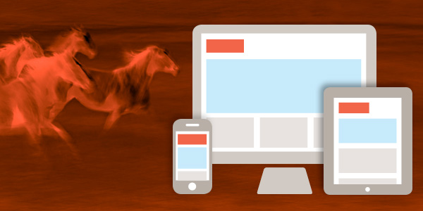 Icons of desktop, tablet and mobile devices, with a background of red flaming horses