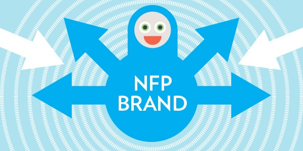 A blue character with 4 arrows for arms, pointing outwards and labelled 'NFP brand'. Two white arrows point inwards.