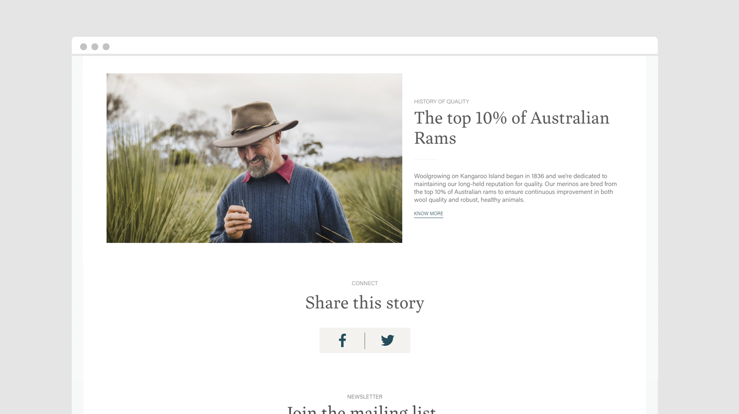 Kangaroo Island Wool website - 'The top 10% of Australia Rams', image of a middle-aged man in a woollen jumper looking down and smiling.
