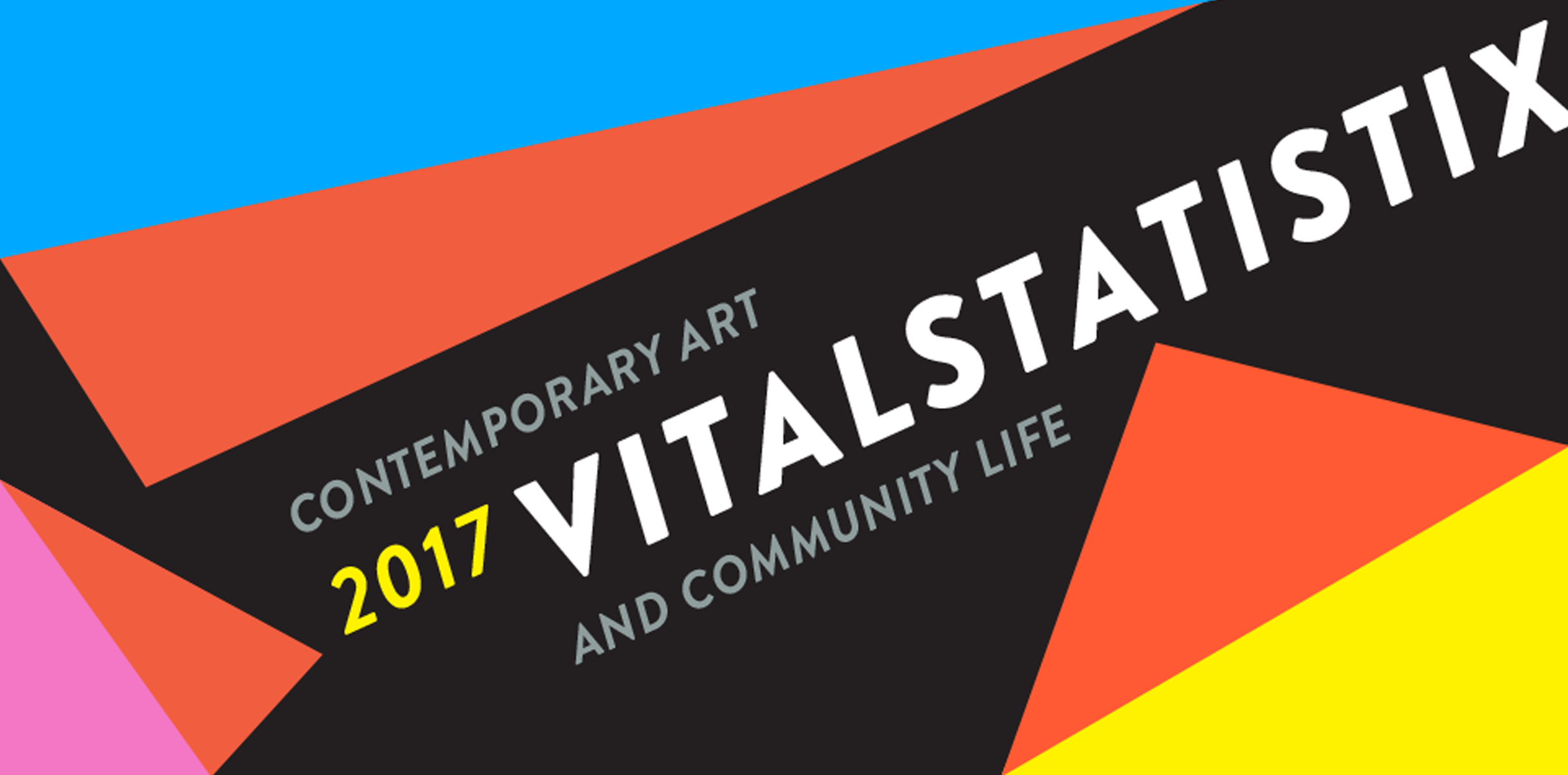 Vitalstatistix banner - bright geometirc shapes on a dark background with 'Vitalstatistix' on a diagonal