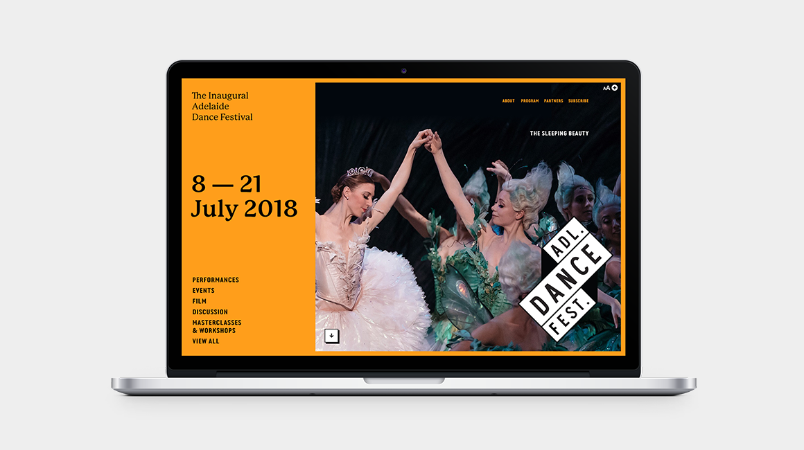 Adelaide Dance Festival - Website - homepage desktop view