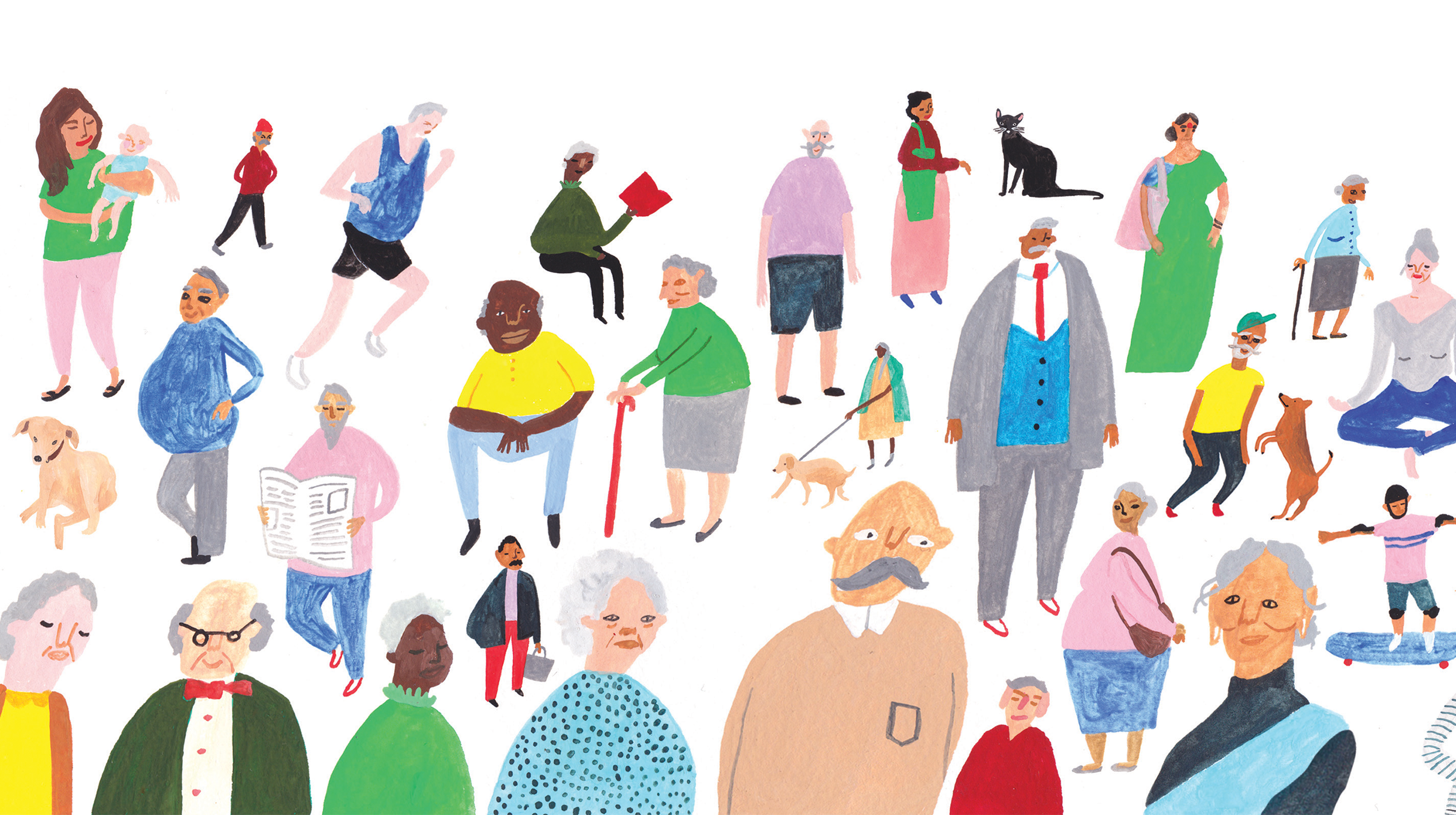 Helping Hand - custom illustrations - diverse range of people