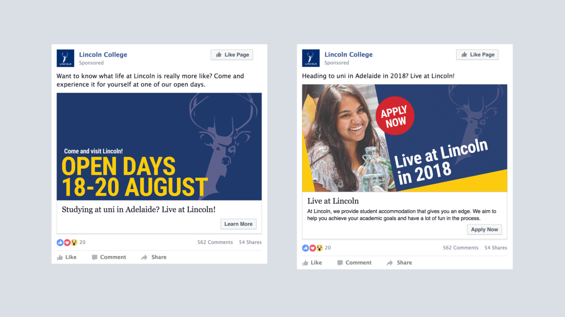 Lincoln College Facebook Advertising