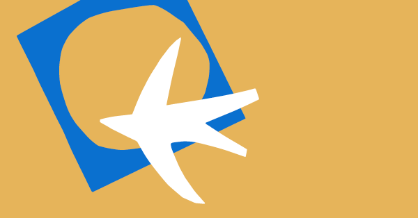A white airplane is pointing into a blue square with a gaping hole. Both shapes are on a yellow background.