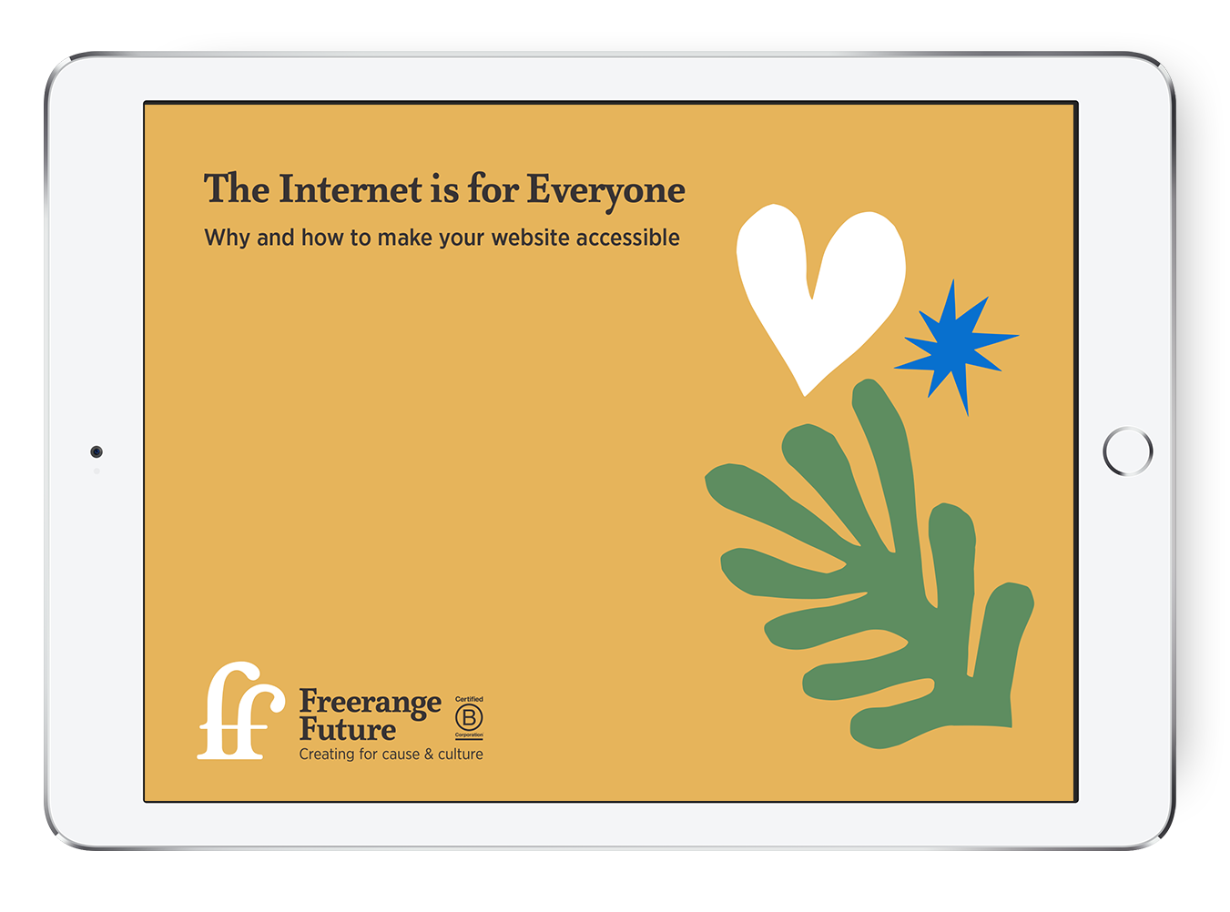 An iPad displaying the front cover of The Internet is for everyone - a yellow background with decorative shapes, the title and the Freerange Future logo
