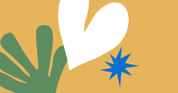 Heading image for Six beautiful and accessible websites - A green leaf, white heart and blue star sits on a golden background