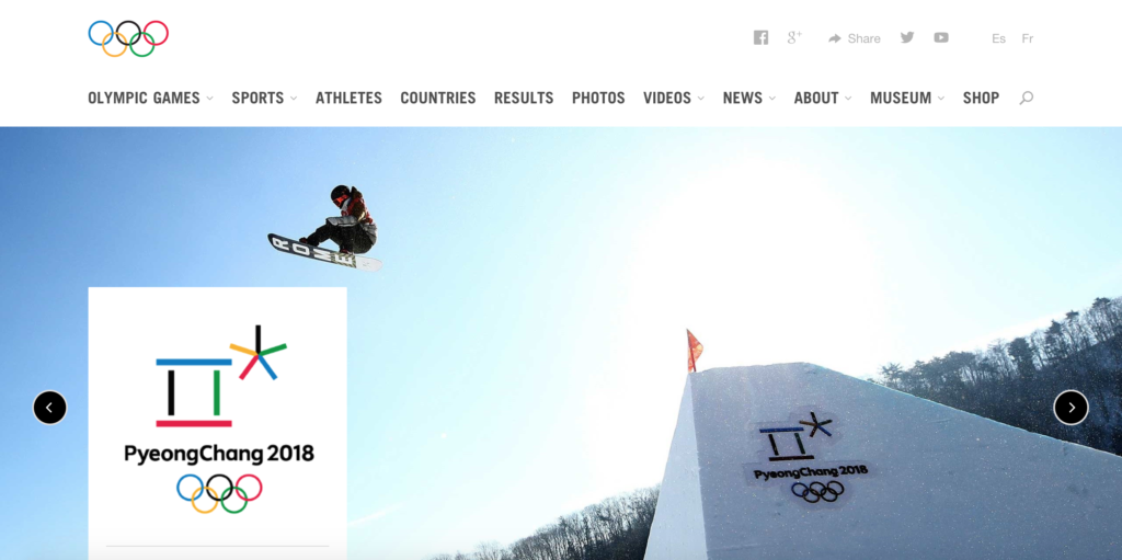 PyeongChang 2018 Olympics homepage. A skydiver is launched into the air next to the Olympic logo on the right side of the page.