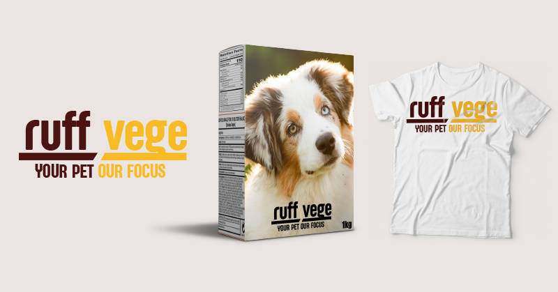 Some mockups of the branding and design work done by one of the work experience students. From left to right: Ruff Vege logo, packaging design and t shirt design.