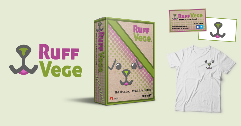 Some mockups of the branding and design work done by one of the work experience students. From left to right: Ruff Vege logo, packaging design, business cards and t shirt design.